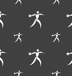 Discus thrower icon sign seamless pattern on a vector