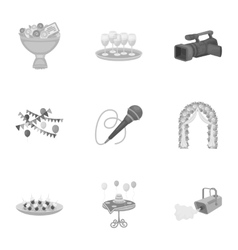 Event service set icons in monochrome style Big vector image