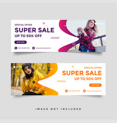 fashion sale facebook cover banner ad design vector image