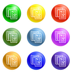 finance paper icons set vector image