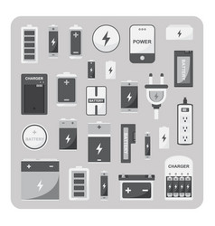 Flat icons different battery set vector