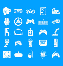 game console icon blue set vector image