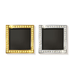 Gold and silver picture frames vector