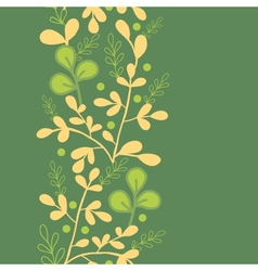 Green And Gold Leaves Vertical Seamless Pattern vector image