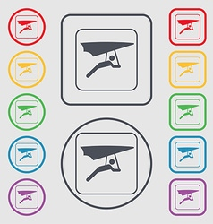 Hang-gliding icon sign symbol on the Round and vector