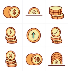 Icons Style Coins Icons Set Design black color vector
