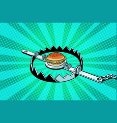 Iron trap with the burger concept of hunger and vector