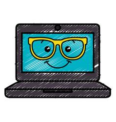 Laptop computer with glasses kawaii character vector