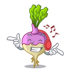 Listening music rutabaga cartoon sale in the vector