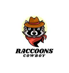logo raccoon cowboy mascot cartoon style vector image