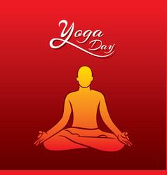 Lotus pose doing men yoga day vector