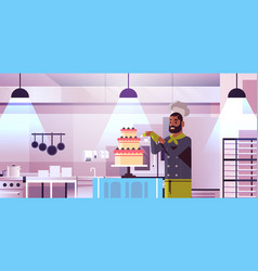 male professional chef pastry cook decorating vector image