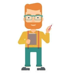 Man standing with pen and file in hands vector