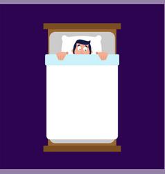 Man under blanket is afraid fear in bed vector