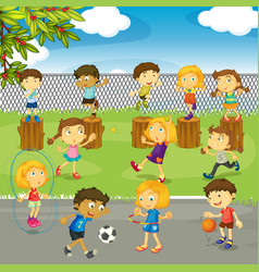 Many kids playing in the park vector