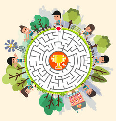 maze game with puzzle find their way to troph vector image