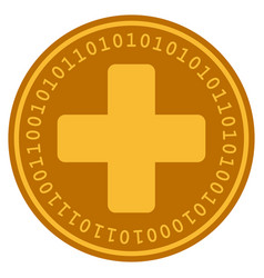 Medical cross digital coin vector
