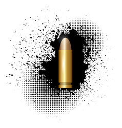 Metal bullet on black splatter background vector