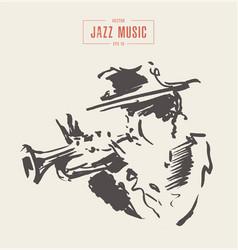 musician plays trombone hand drawn sketch vector image