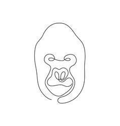 one line gorilla head design silhouette vector image