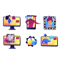 online video bloggers set vector image