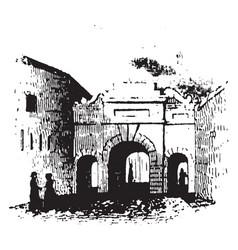 Palace gate barracks vintage engraving vector