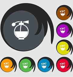 Perfume icon sign Symbols on eight colored buttons vector