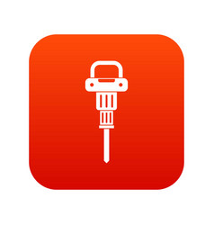 Pneumatic hammer icon digital red vector