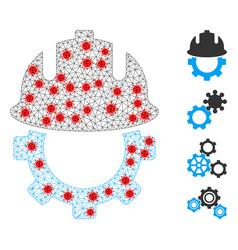 Polygonal wire frame development helmet pictograph vector