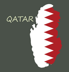Qatar map with waving flag country vector