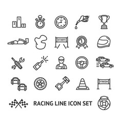 racing signs black thin line icon set vector image