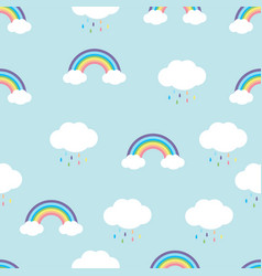 rainbow with rain drops seamless pattern vector image