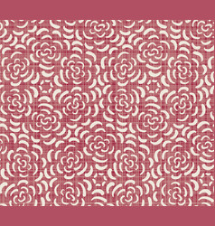 red ditsy floral seamless pattern on linen texture vector image