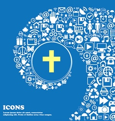religious cross Christian icon Nice set of vector image