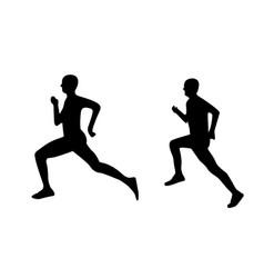runner man silhouette sprint male vector image