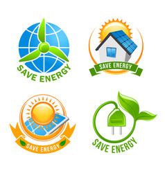 Save energy solar wind eco power symbol set vector