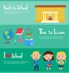 school horizontal banner set with school building vector image