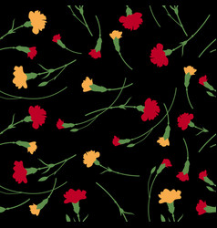 Seamless carnation flowers pattern on black vector