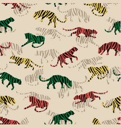 Seamless exotic pattern with abstract silhouettes vector