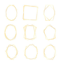 set gold geometric luxury frames border vector image