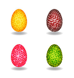 set of easter egg with pattern vector image
