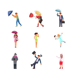 set of people in different seasons and weather vector image