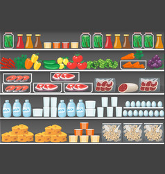 Shelves with products food supermarket vector