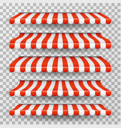 Store awning grocery market striped roofs red vector