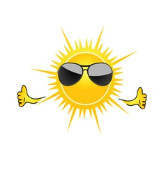 sun with sunglass cartoon art vector image