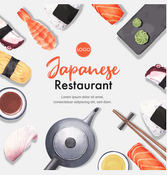 Sushi set for decoration watercolor template vector