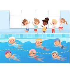 Swimming competition kids water sport swimming vector