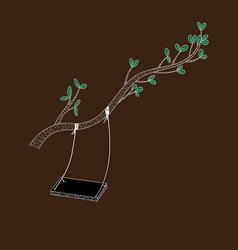 Swing on a lone brown tree and loneliness vector