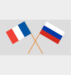 The crossed russia and france flags vector