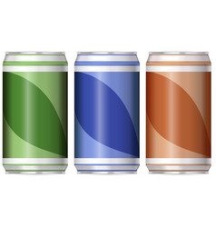 three aluminum cans with different color of labels vector image